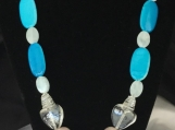 Necklace with  Natural Stones and Blue Acrylic Beads