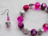 Pink and Silver Beaded Bracelet and Earrings