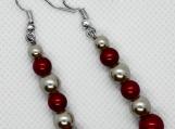 Red and Cream Pearl Drop Earrings