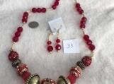 Red Color Necklace & Earring Set