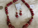 Red Necklace & Pierced Earring Set