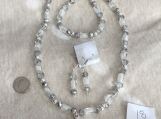 Silver, Clear & White Necklace, bracelet & earring set