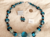 Teal Blue Necklace and Earring  Set