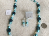Teal Iridescent Necklace & Earring set