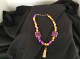 Yellow and Purple Necklace w/ Accented Square Beads w. Earrings