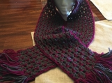 Dark Grey Crocheted Hooded Scarf w/Dark pink purple tassels
