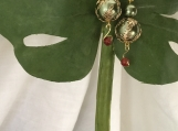 Green, acrylic, silver plated,gold tone flower filigree,Red Aga,