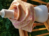 Hand knit shawl in yellow and pink merino wool