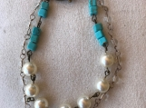 Handcrafted Swarovski Pearls And Turquoise Howlite With Crystals