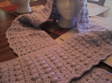 Light Lavender Crocheted Hooded Scarf (includes a free gift)