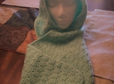 Soft Mint Green Crocheted Hooded Scarf