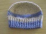 Beige / Blue Winter Hat