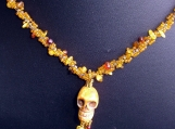 Bone Skull Pendant with Amber Chip Bead Rope