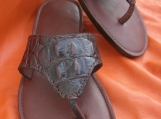 Custom Leather Sandals in Croc Print