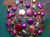 GODDESS Peacock, Magenta and Bronze Pearl and Copper Cuff