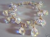 Handmade 14K Gold Filled Swarovski Crystal AB Charm Bracelet Choice of Colours
