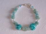 OCEAN DREAM - Lampwork and amazonite bracelet