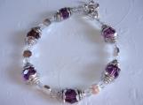 PURPLE POSIES - Purple swarovski crystal and silver bracelet