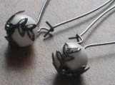 SIMPLICITY  White Agate and Gunmetal Earrings