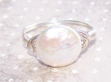 Sterling Silver and Coin Pearl Wire Wrapped Ring