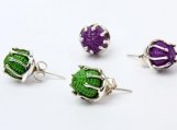 Trendy Straw Beads 950 Sterling Silver Stud Earrings