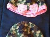 Crochet Green Camo baby hats (6-12 months)