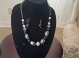 Gray Chunky Necklace w/Matching Earrings
