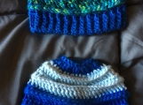 Set of 2, striped crocheted baby hats (0-3 months)