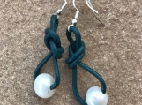 Blue Iris Leather And Pearl Earrings