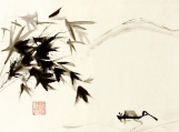 Chinese hand  painting.Ink and water Painting
