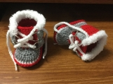 Crochet Boots ~ Winter Baby Boots ~  Fur Trim Sorel Pac Style Crochet Boy Booties
