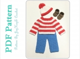 Crochet  Pattern Waldo Outfit Costume Diaper Set Pattern