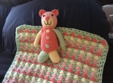Crocheted Baby Blanket with Teddy Bear (multi-colored)