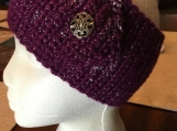 Crochet Sparkle Headwrap with button (includes a free gift)