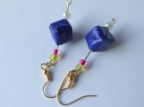 Dark Blue Origami Cube Earrings