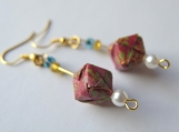 Dark Red Brocade Origami Cube Earrings