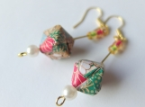 Green Brocade Origami Cube Earrings