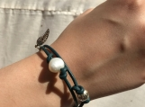 Handcrafted Blue Iris Leather And Pearl Bracelet