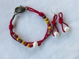 Handcrafted Bright Red Leather Pearl Bracelet And Earrings