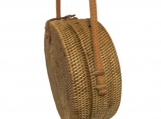 Handwoven Medium Bali Round Rattan Beach Bag with Button Clip