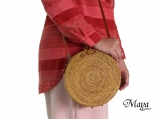 Handwoven Round Rattan Bag with Leather Strapping and Butterfly buckle for summer & Gift for her