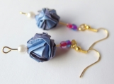 Light Blue & Light purple Origami Ball  Earrings