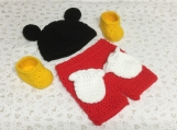 Mickey Mouse Crochet Costume Baby Diaper Set Outfit