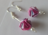 Mixed Colors Origami Pink /Blue/White Ball Earrings