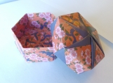 Origami Box ( Pink Flowers/ Blue)