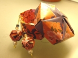 Pink Flowers Origami Earrings and Box