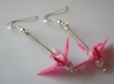 Pink / White Origami Crane Earrings