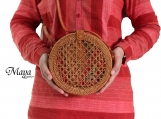 Round Rattan Bag with Wicker Crossbody Bag, Vintage Bags, Bali Bags, Beach Bag, Handwoven Rattan Bags