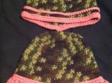 Crochet baby hats (Camo & Pink, 6-12 months)