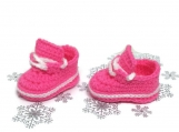 Sneakers Baby Girl Crochet Pink White Shoes Newborn Booties